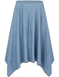 5a5d1f9ea94 Yours Clothing Women s Plus Size London Chambray Denim Hanky Hem Skirt