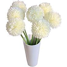 Sanysis 1 x 6 cabezas Peonía flores artificiales colgantes (5 cabezas de lavanda, Blanco)