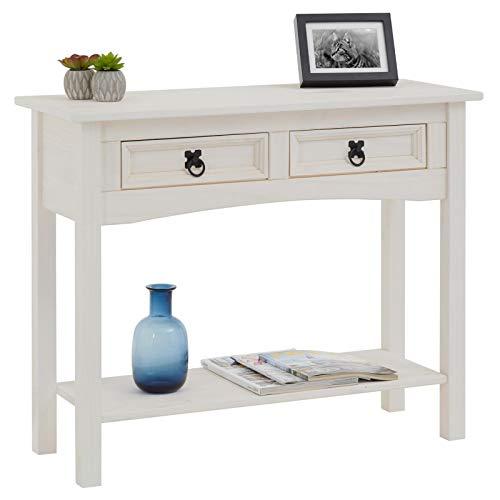 CARO-Möbel Konsolentisch Rural im Mexiko Stil Beistelltisch Kiefer massiv mit 2 Schubladen, 1 Ablageboden weiß lackiert