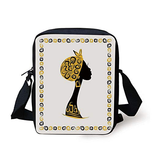 LULABE Afro Decor,Female Head Portrait in Ethnic Tribal Frame with Ornament Lines Design,Black Earth Yellow Print Kids Crossbody Messenger Bag Purse