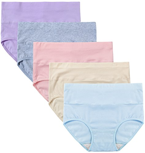 INNERSY Damen Unterwäsche 5Pack Hohe Taille Einfarbig Grundlegende Stil Tummy Control Cotton Briefs Höschen(XS-EU 36,Color 5) (Xs Frauen Für Höschen)