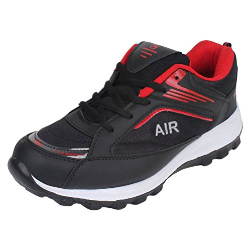Aero Power Play Men Running Sport Shoes (Black, Red)  available at amazon for Rs.499