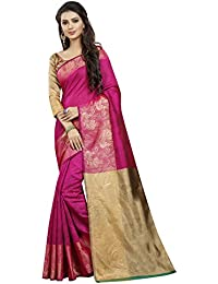 INDIAN BEAUTIFUL WOMEN'S ETHNIC WEAR PINK COLOUR SAREE WITH BLOUSE PIECE(NATIONAL PINK MOR