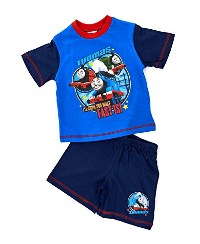 Hit Entertainment New Kids Boys Official Thomas The Tank Engine Trains Short Sleeved Pyjamas Shorts Pjs Set Navy Blue Red Childrens Size 1-5 Years