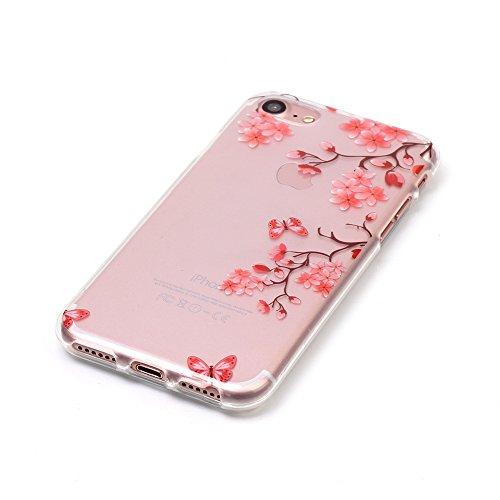 iPhone 7 Hülle,SainCat iPhone 7 Silikon Hülle Tasche Handyhülle Kirsche Muster [Gelbes Gänseblümchen] Schutzhülle Transparent TPU Gel Case Bumper Weiche Crystal Kirstall Clear Silikonhülle Durchsichti Rosa Blüten