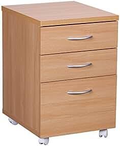 Büro & Schreibwaren Rollcontainer Masimo Bürocontainer Schubladencontainer Kernbuche Massiv Geölt Kleinmöbel & Accessoires