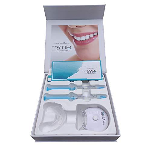 Mysmile gel sbiancante per denti - teeth whitening kit - kit sbiancamento denti professionale - trattamento sbiancante denti con luce led e bite dentale - gel sbiancante con bicarbonato e aloe vera