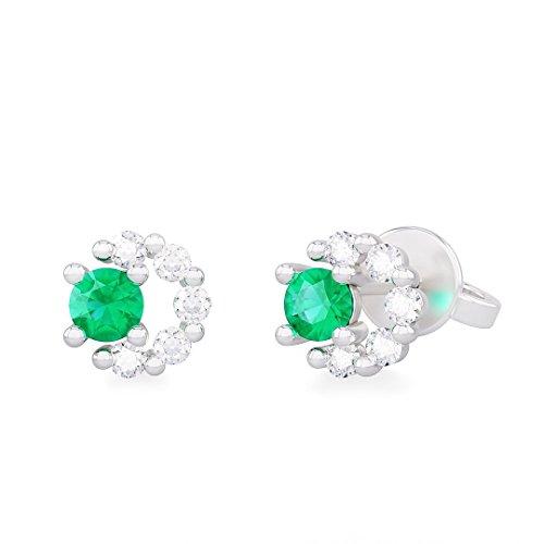 Orecchini donna MILVA in oro bianco 18kt e palladio con diamanti e smeraldo