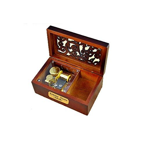 Laxury Spieluhr mit kreativer Gravur, Holz, 18 Noten, zum Aufziehen, verschiedene Melodien Tune:Over the Rainbow