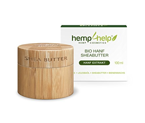 SHEA BUTTER HEIL-SALBE 100% BIO für trockene, entzündete, rissige Haut, Schuppenflechte und Narben von Hemp 4 Help mit feuchtigkeitsspendender Shea-butter und Bio-Hanf Extrakt, Olivenöl, Bienenwachs, Arganöl, JojobaIöl | 100 ml KÖRPER-CREME (Shea-butter Haut Creme)