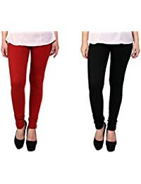 Anekaant Women's Cotton Lycra Combo Legging (Pack of Two) - Red & Black