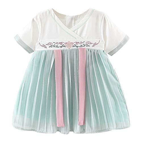 squarex Sommer Kinder Baby Mädchen Kinder Kurzarm Konfuzianischen Chiffon Bestickt Kostüm Antike Han Chinese Plissee Prinzessin Kleid (Kostüme Ideen Prinzessin)