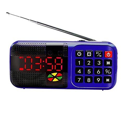 BXT® Tragbarer Multifunktion Lautsprecher, Digital-Uhrenradio, Radiowecker, Wecker / TF / USB Disk / FM Radio Funktionen unterstützen, Mini Speaker Reiseradio