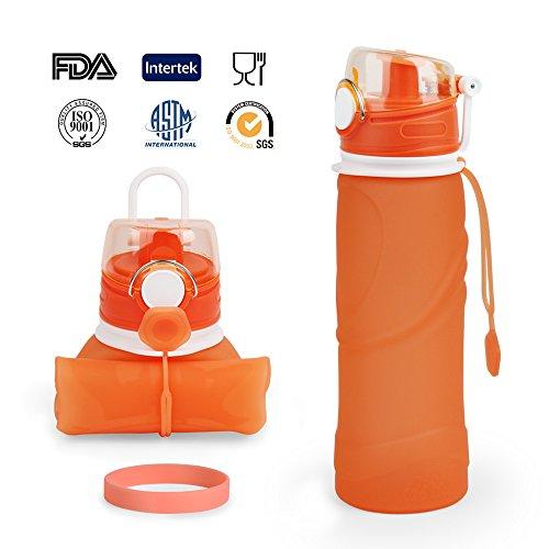 Zusammenklappbare Trinkwasser-Flasche, Faltbare Sport Wasserflasche,ARMPHEN Silikon-zusammenklappbares Sport-Wasser, Flasche-Leck-Beweis-Wasser-Flasche mit Sport-Armband-750ML