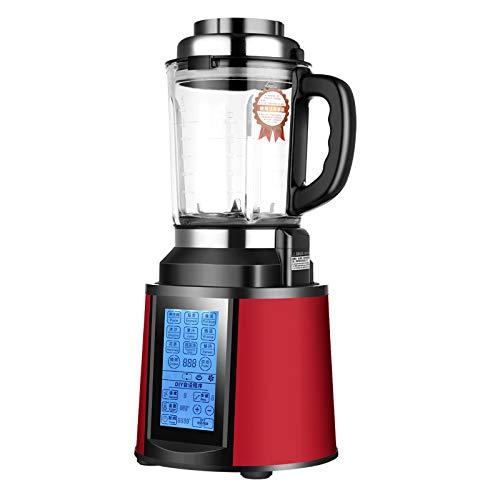 Küchenmaschine Multifunktional, LED-Bildschirm Touch Control Dampfgarer Baby Mixer für Babykostzubereitung, Food Processor mit 2200W Reinkupfermotor, 48000 U/min, 2L,Red