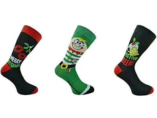 3 x paia di Mens Novelty FUN CHRISTMAS Socks / UK 6-11 EUR 39-45 FANTASTICI IDEA REGALO