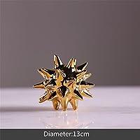 Adornos de ornamento de ornamento de ornamento dorado con forma de bola de torno, ornamentos de cerámica, para casa, manualidades, oficina, escritorio, bola de explosión para regalo