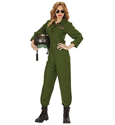 JET PILOTIN PILOT Kampfjet Top Gun Partner Kostüm deluxe für Damen und Herren, Pilot/Pilotin:Damen Anzug L - ()
