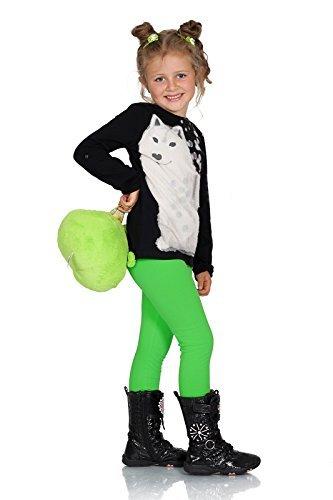 warm Kinder Baumwollleggings Mädchen Hose einfarbig volle Länge Kinder Hosen alter 2 3 4 5 6 7 8 9 10 11 12 13 - Grün, 110 (Grüne Leggings Kinder)
