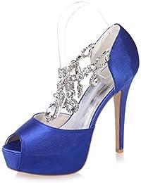 360cf4399fcef Qingchunhuangtang  Zapatos de mujer T-band rhinestone sandalias boca de  pescado zapatos de tacón
