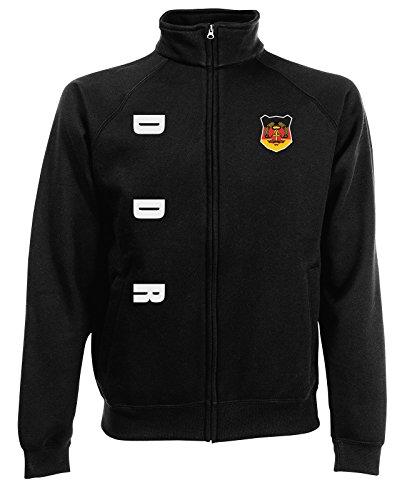 DDR Sweatjacke Jacke Trikot Wunschname Wunschnummer (Schwarz, L)