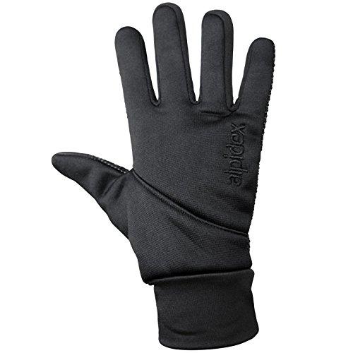 Softshell Sporthandschuhe LIGHT WOOLF von Alpidex Running Handschuhe Unisex Sport Handschuhe Nordic Walking Handschuhe für Damen und Herren mit Touchscreen-Funktion Fingerhandschuhe, Größe:L;Farbe:black