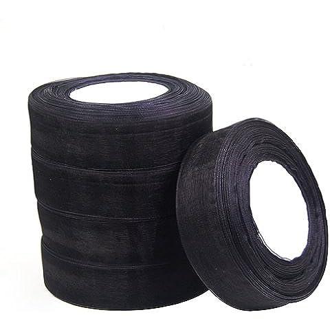 SODIAL(R) 25mm Cinta de Organza Borde Tejido Organza 50 Yarda / 6 Colores Accesorio DIY de Boda - Negro