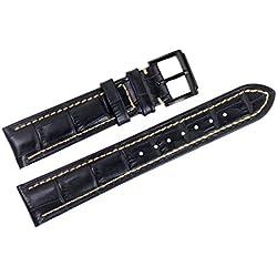 21mm schwarz italienischen Luxus-Lederersatzuhrenarmbänder / Bands handgemachte weiß für erstklassige Marken genäht