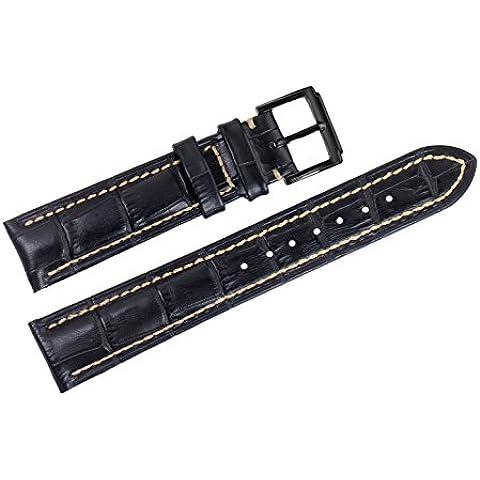 22 mm de lujo negro correas de reloj de reemplazo de cuero italiano / bandas blanca cosida a mano para las marcas de grado superior