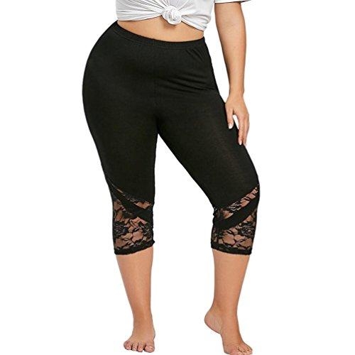 OSYARD Hosen,Mode Frauen Plus Size Skinny Hosen mit Spitze Yoga Sport Hosen, Blickdichte Leggings für Damen Capri Hose Leggins 3/4 Länge - Plus Size Capri-leggings