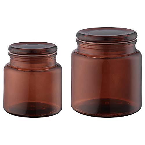 Bocal avec couvercle, lot de 2 marrons, taille du colis et poids : longueur : 26 cm, largeur : 15 cm, hauteur : 14 cm, poids : 1,43 kg, matériaux : verre, peinture polyester, caoutchouc de silicone.
