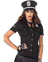 Leg Avenue 2640 - 2Tl. Kostüm Set Polizeihemd, Größe M, schwarz, Damen Karneval Kostüm Fasching