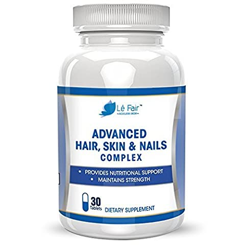 Hair, Skin, Nails Advanced Formula - Contains Biotin, Bamboo Extract, MSM, and Green Tea Extract to Promote Hair Growth, Nail Growth, Eyelash Growth, and Skin Health - All Natural Formula