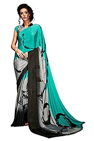 EthnicWear9 Best Collection Multi Color Silk Crepe Printed Saree Saris