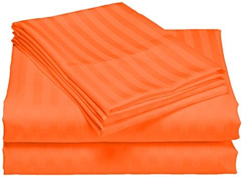 SCALABEDDING 100% ägyptische Baumwolle, 300TC 23Zoll Extra Tiefe Tasche Spannbetttuch Full XXL-Ziegel rot gestreift (Full Extra Tiefe Spannbetttuch)