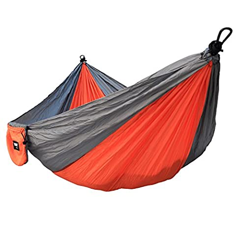 Hammock IMISI Portable Parachute Nylon Fabric Travel 400lbs Ultralight Military Grade Camping Hammock Set 108 Inch Long 55 Inch Wide Double Wide Outdoor Travel Multifunctional Lightweight Suspension System Compact Comfort for Backyard Indoor Outdoor Hiking Beach Travel (Orange +