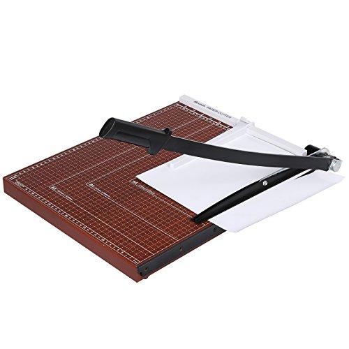 Voluker Cortador de Papel A3, Base de Madera, Guillotina,Puede cortando 12 hojas al mismo tiempo papel,48.5 x 38.5 x 3.3cm,Rojo