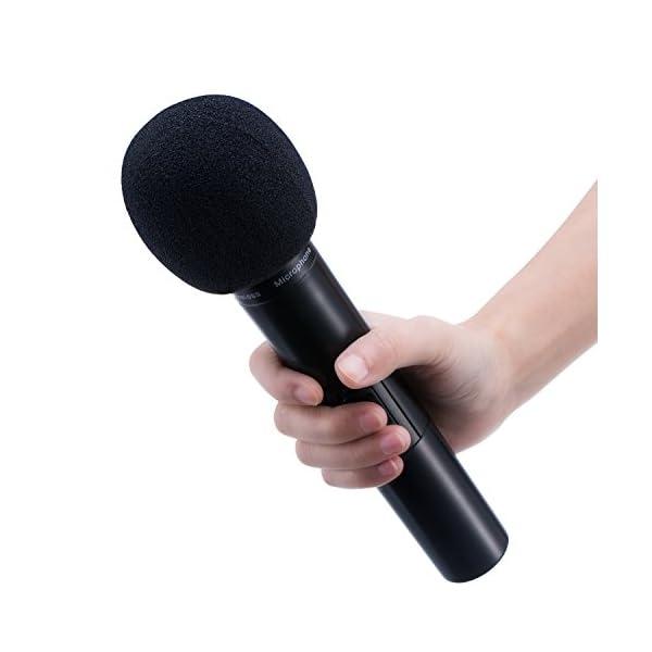 Spugna Antivento per Microfono, Confezione di 5 Palmare Schiuma Copertina di Mic, Nero