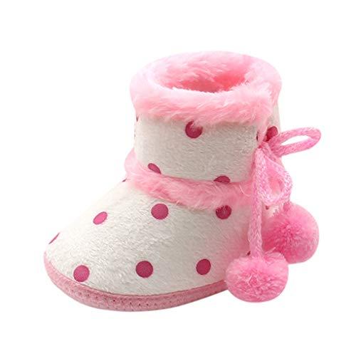 Dorical Babyschuhe Warm Gefütterte Schneestiefel Baby Kinder wasserdichte Winterschuhe Kleinkindschuhe Weichsohlen Schlupfstiefel für Kleinkind 12-14(Rosa,13 EU) (Warm-up-anzüge Sportliche)