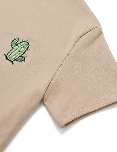 ROMWE Damen Top mit Hübschen Kaktus Stickerein T-Shirt Kurzarm Shirt Khaki