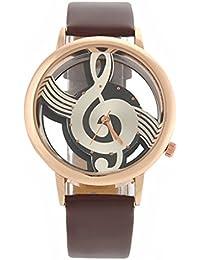 PIXNOR M388 Damas moda femenina hueco nota Musical estilo PU banda de cuarzo reloj de pulsera (marrón)