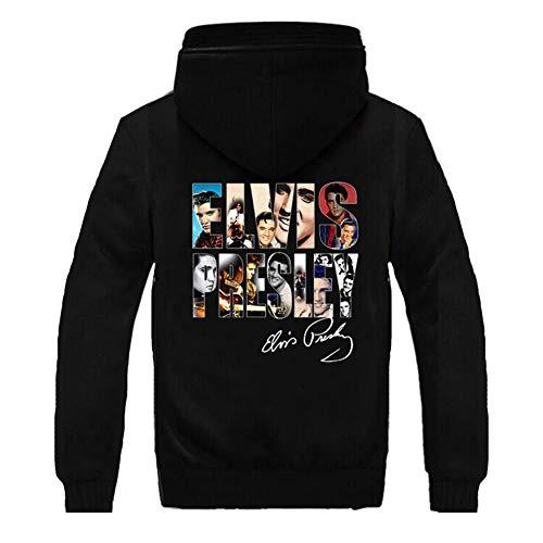 DealTrade Elvis Hoodie The King Jacke Kostüm Herren Winter Dicke Plus Samt Zip Sweatshirt Langarm Mantel Kapuzen Kleidung Jumper - Elvis Hoodie