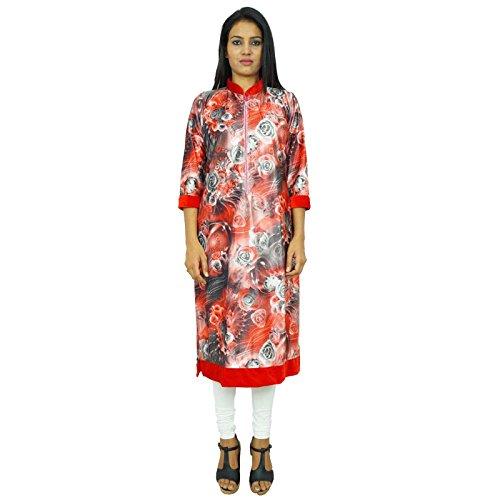 floral bedruckte Kleid indian kurti Winter lang volle Hülse Samt Kurta Rot
