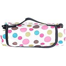 HIMRY® Manta de picnic, 200 x 150 cm, Plegable, Impermeable, Alfombra Colchón para Camping Playa Jardín, Forma de bolsa, punto rosa, KXD4003-pinkdot