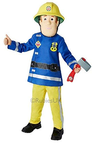Jungen Feuerwehrmann Sam Feuerwehrmann + Maske & AXT Büchertag Cartoon Halloween Kostüm Kleid Outfit - Blau, Blau, 2-3 Years