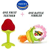 Wishkey Baby's BPA-Free Silicone Food Nibbler for Fruits and Veggie with Rattle Handle and Fruit Teether (Multicolour, 6-12 Months) Combo Pack of 2