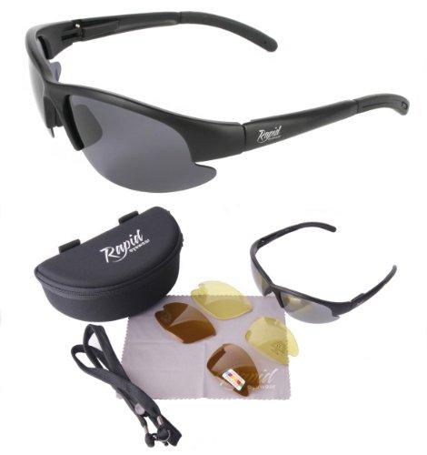 Preisvergleich Produktbild Catch Pro POLARISIERTE Schwarz Sonnenbrille zum Angeln - ANGLERBRILLE, mit Wechselgläsern für Fliegenfischen, Friedfischangeln, Karpfenangeln, Hochseefischen usw. UV schutz 400