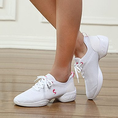 Frauen Tanzschuhe Leder Leder Latein / Modern Sneakers Chunky Ferse Praxis White