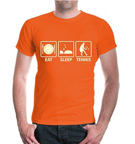 buXsbaum® T-Shirt Eat Sleep Tennis Orange-Beige