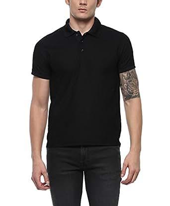 AMERICAN CREW Men's Polo Collar Black T-Shirt - S (AC025P-S)
